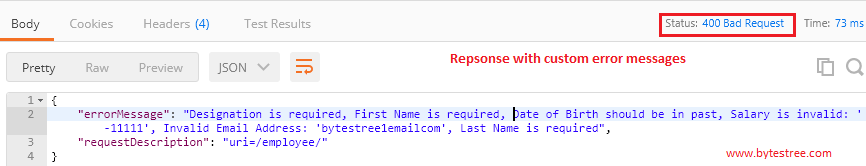 Restful Service Validation - Custom Error messages